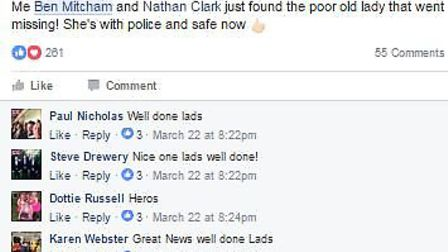 """Three friends from Soham have been praised as """"heroes"""" for helping police rescue an elderly lady wit"""