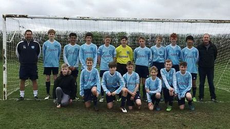 Witchford Colts Under 14s with new sponsor, the Atrium Fitness Club in Ely. PHOTO: Witchford Colts