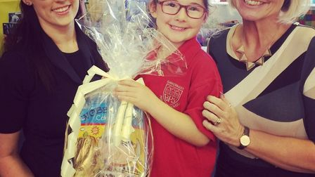 Louella receives her Easter egg hamper from the Nottingham Building Society customer reviewer Carrie