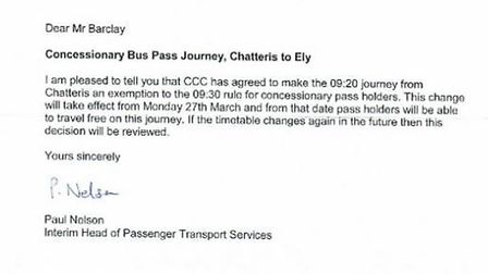 Pensioners travelling to Cambridge from Chatteris no longer face a two-hour wait in the morning - th
