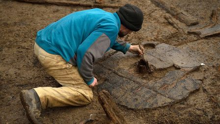 A Bronze Age Wheel, one metre in diameter, was found at Must Farm last year. PHOTO: Dave Webb