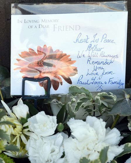 Flowers at the spot where Arturas Matezevicius died in Wistaria Road, Wisbech. A man has been charge