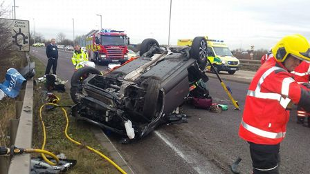 The aftermath of the crash on the A605 in Peterboroughwhich saw drink-driver Tania Chikwature drive