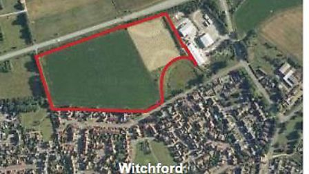 The site at Witchford where 128 homes are planned. It was originally refused but developers won perm