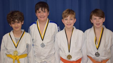 Lucas Hilcenko, Joseph Sibson, George Emms and Yonas Aldous, who all won medals at the Marham Judo t