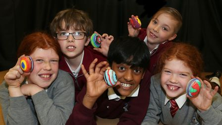 The winners of Finchingfield Primary School's egg painting competition