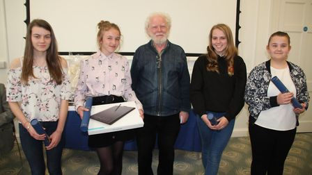 Ella Reed with Professor Jean Michel Massing. She won the 11-13 age category also pictured are the o