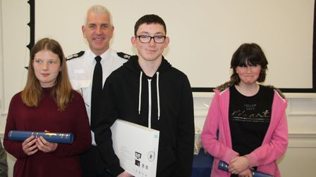Harry Liptrot picked up the Chief Constable's prize, he is pictured with the chief constable and oth
