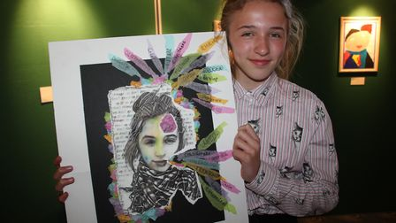 Ella Reed of Witchford Village College pictured with her award winning artwork.