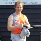 Vet Ben Portus who is running the London Marathon dressed as a donkey for an equine charity