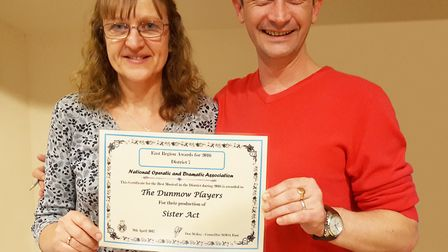 Peter Dedman, Dunmow Players' chairman and co-choreographer of Sister Act) and Karen Chinery, the sh