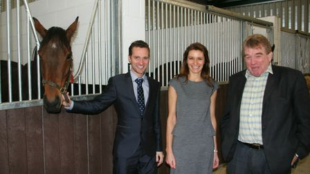 Soham businessman Colin Murfitt (right) with Lucy Frazer MP and Cllr Josh Schumann, Copies of the ph