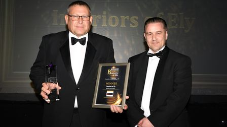 East Cambridgeshire Business Awards 2016 Retailer of the Year Interiors of Ely: Rick Pridmore presen