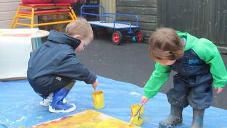 Messy play at King's Ely nursery PHOTO: King's Ely
