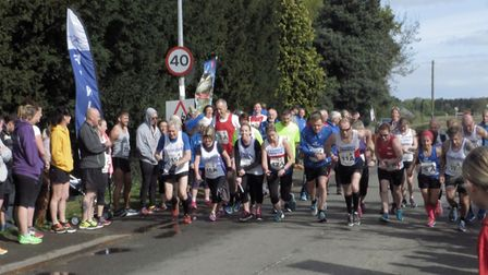 Runners take off at the start of Fenland Running Club's Easter Monday Spring Relay.