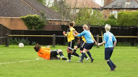 Livvi Hodges slots home March Town Ladies' winning goal in their 2-1 victory over Ketton Town Ladies
