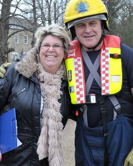 Whittlesey Mayor's charity duck race. Clerk to Whittlesey town council Sue Evans and firefighter Mal