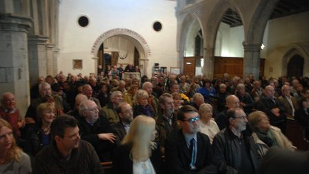 The packed meeting at St John the Baptist Church in Finchingfield protesting at the proposed 14-mile