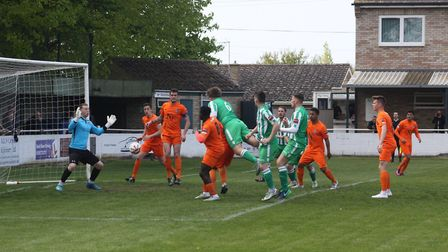 Groves headed two goals in Soham's incredible 4-3 win. PHOTO: Andy Burford