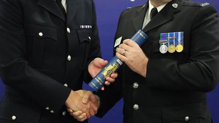 PC Lloyd Groves was commended for his bravery and lifesaving actions. While off duty and with no reg
