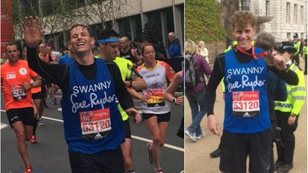 During and after: Whittlesey marathon runner Daniel Swan at the 2017 London Marathon.