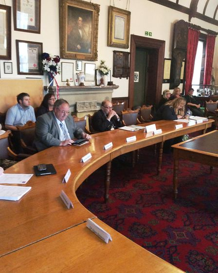 The scene at Wisbech town council on Monday when UKIP councillor Alan Lay sat down in a seat normall