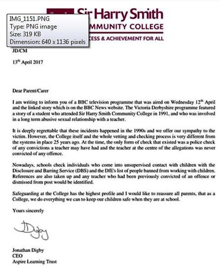 A letter to parents from Sir Harry Smith Community College after the Victoria Derbyshire Show reveal