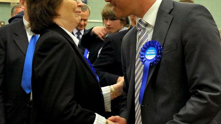 Cllr Jill Tuck congratulates Steve Barclay on winning the NE Cambs seat at the 2010 General Election