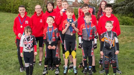 The Wisbech Inline Speed Skaters after the first outdoor race of 2017. Back row (L-R): FlynnMcGurk,