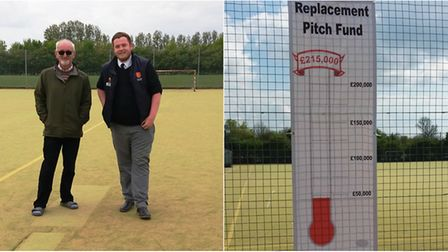 Ely City Hockey Club president, Trevor Hopkinson and Nick Talton of Notts Sports and the club's new