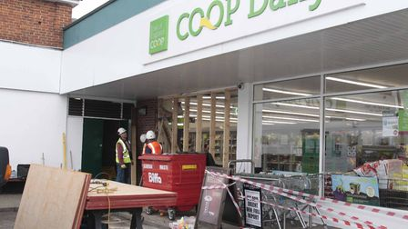 017 NB Ram raid on Co-op in Swan Stree, Sible Hedingham on Bank holiday monday.Picture, Nige Brown
