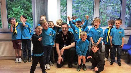 Haddenham Beavers Colony experience day in life of Ely police officer during visit. PHOTO: Facebook/
