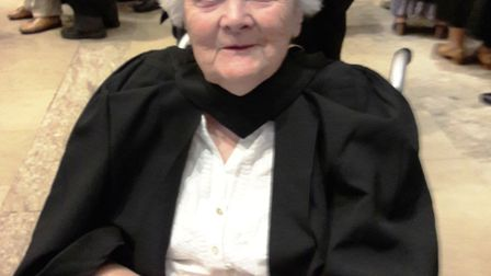 89 year old Eileen Jakes, of Ely, has been awarded an honorary degree by Roehampton University in re