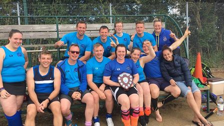 Winners of the Plate at Ely City Hockey Club's annual tournament, the Marham Bulls.