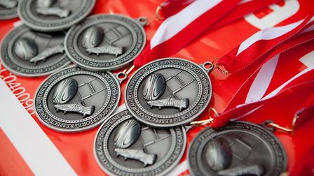 The medals handed out to the players in recognition for their world record-breaking efforts. PHOTO: