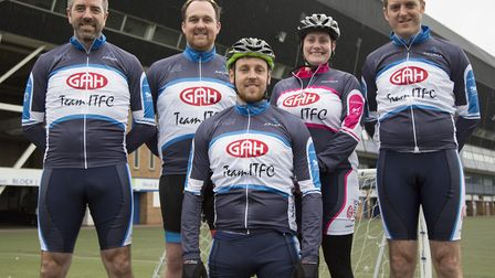 Participants in the ITFC Tour of Suffolk cycle ride before leaving Portman Road, including Shaun Whi
