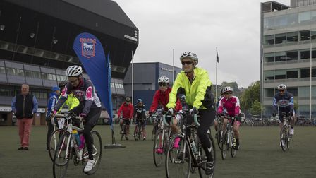 Some of the participants in the ITFC Tour of Suffolk cycle ride which set off from Portman Road on S