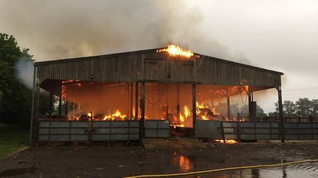 Crews are currently tackling a barn fire on Linwood Lane, off Knights End Road, March.