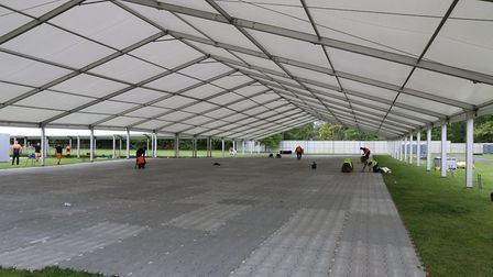 The 44th Cambridge Beer Festival comes to Jesus Green next week. Pictured is the main beer tent bein