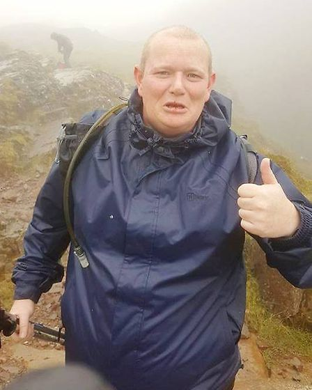 Defibrillators for All Whittlesey fund raiser. Andew Inman at the top of Scaffell Pike PHOTOS: Defib