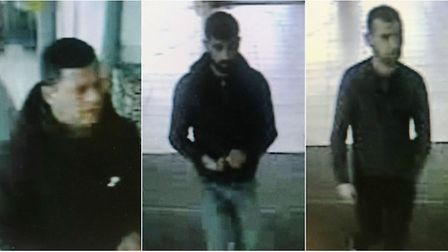 Officers want to trace these men in connection with theft of more than £500 worth of champagne from