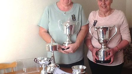 The 2017 cups won by Chatteris women's section of the Royla British Legion. In the photo Anne Wells