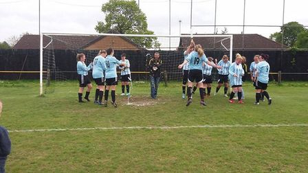 March Town Ladies celebrate winning the S-Tech Women's Championship North title.