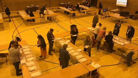 The Cambridgeshire County Council election count at Ross Peers Sports Centre, Soham.