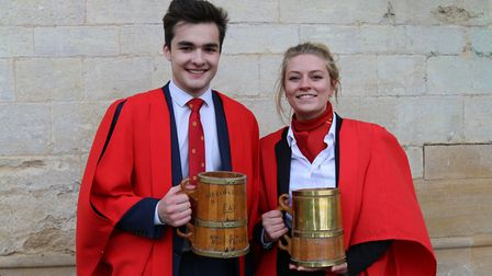 Winners of the King's Ely Hoop Trundle, Oliver Wilkinson and Alice Keeling. PHOTO: King's Ely