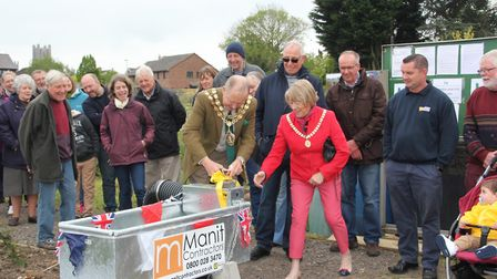 New water butt is officially opened at Upherd Lane allotments in Ely PHOTO: Mike Rouse