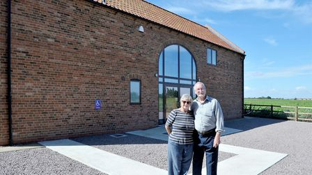 Museum of Technology Throckenholt, Rosie Hourihane and Trevor Cass outside of the museum. Picture: S