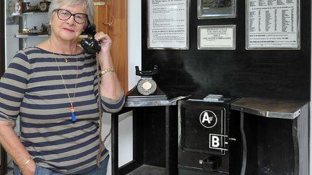 Museum of Technology Throckenholt, Rosie Hourihane with the old A.B.telephone system. Picture: Steve