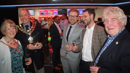 The Mayor and Mayoress of Ely and councillors Josh and Bill Hunt at the opening of Cineworld Ely. PH
