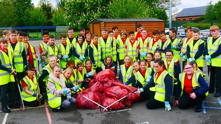 Year 6 pupils at Peckover Primary School in Wisbech with the rubbish they collected during the launc